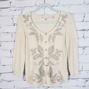 Anthropologie Cream Knit Embellished Cardigan